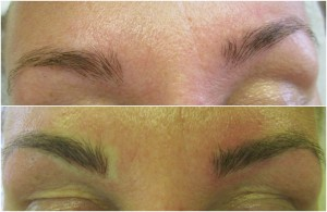 Showing eyebrows before & after microblade treatment